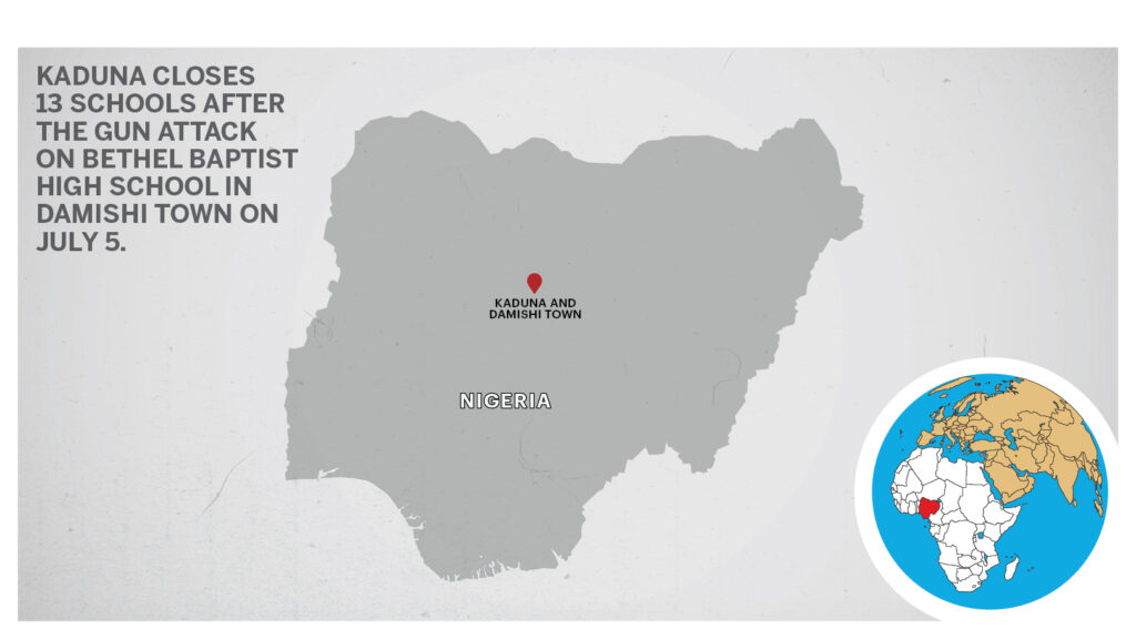 Map of Kaduna and Damishi town Nigeria