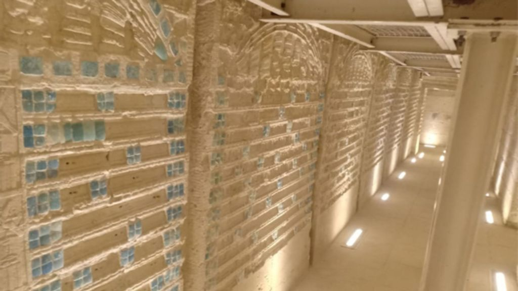 Restored corridor of the southern tomb of King Djoser in Saqqara, Egypt. The cemetery, including the tomb, is now open to the public with new lighting and ladders for access underground. (Egyptian Ministry of Tourism and Antiquities/Zenger)