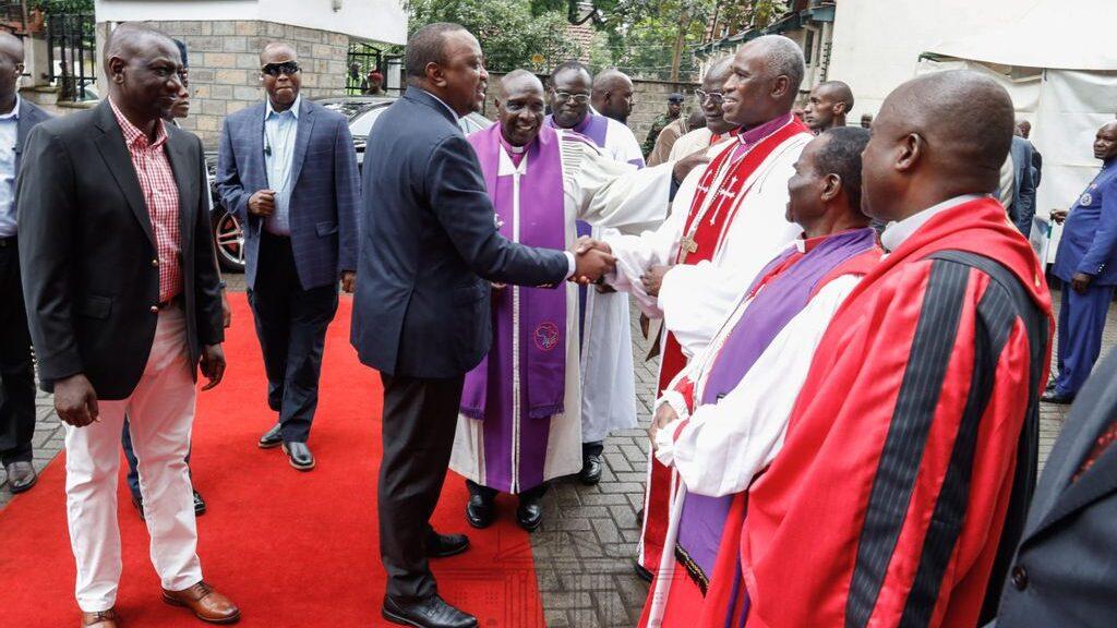 President Uhuru Kenyatta greeting religious leaders in Nairobi. The President instructed the religious rule to be revised in 2016. (Courtesy of State House-Kenya)
