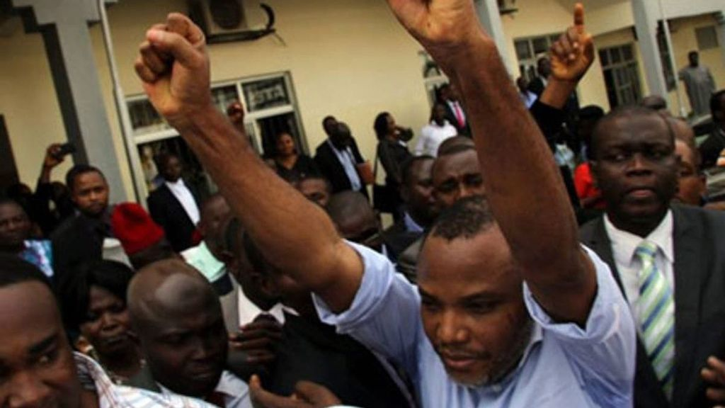 Nnamdi Kanu, the leader of the Indigenous People of Biafra, celebrates his release on bail in 2017. (Courtesy of the Nigerian Tribune)